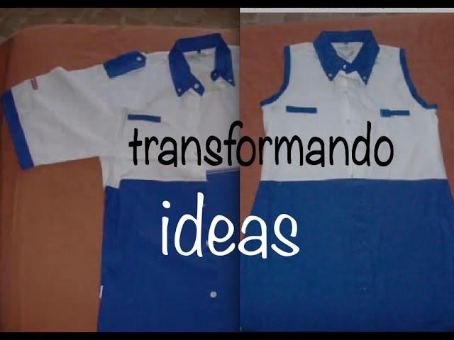 Transformando Camisa a Vestido, Change T-Shirt into Dress easy sewing DIY
