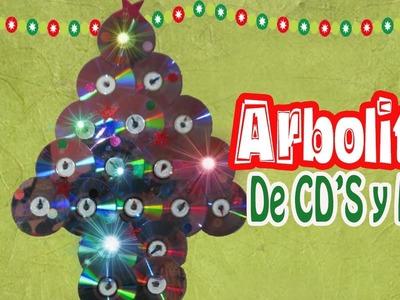Arbolito Navideño con CD'S y Luces! (DIY-navidad-eco)