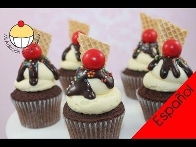 ¡Cupcakes! Haz Cupcakes que parecen Mini Helados Sundae - Un Tutorial Práctico de Cupcake Addiction