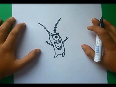 Como dibujar a Plankton paso a paso - Bob esponja | How to draw Plankton - Sponge bob