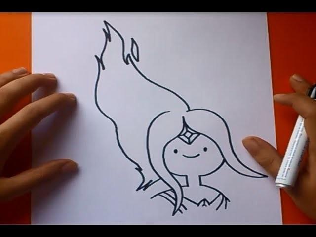 Como dibujar a Princesa Llama paso a paso - Hora de aventuras | How to draw Princess Flame