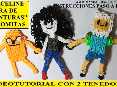 COMO HACER A MARCELINE DE HORA DE AVENTURAS DE GOMITAS (LIGAS) CHARMS CON DOS TENEDORES
