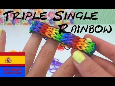 Como hacer pulseras de gomitas sin Telar TRIPLE SINGLE bracelet con tenedor en español rainbow loom