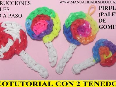 COMO HACER UNA PIRULETA DE GOMITAS (HULES, LIGAS) CHARMS CON DOS TENEDORES. VIDEOTUTORIAL DIY.
