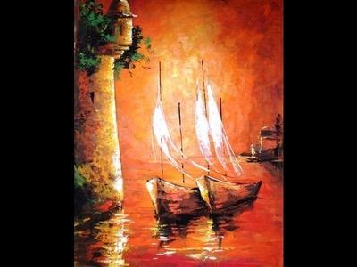 """Como pintar con espátula  - Cuadro """"Atardecer en Cartagena"""""""
