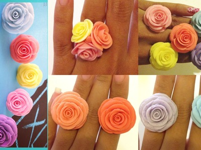 Flores De Ceramica En Frío. Anillos.