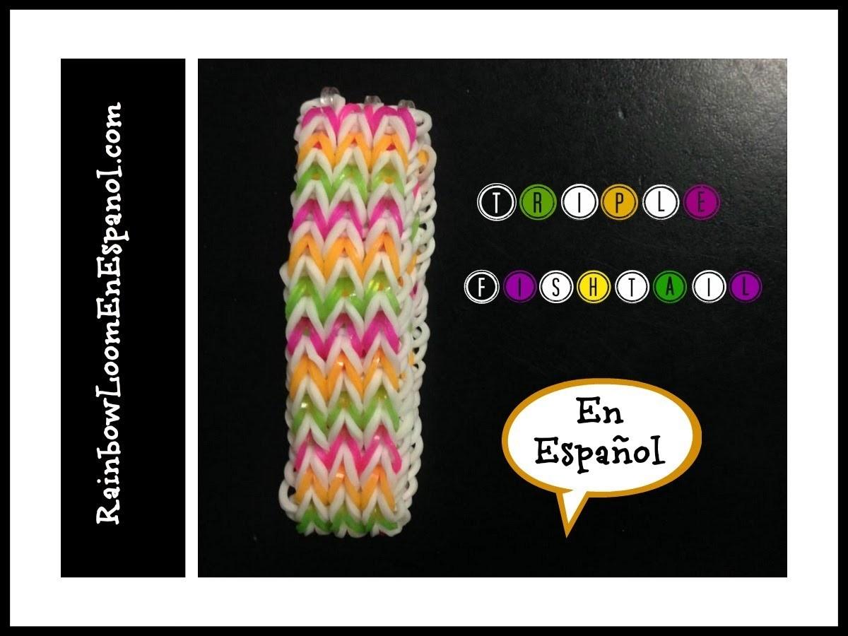 Rainbow Loom en ESPAñOL - Triple Fishtail -  Pulsera de Gomita DIY
