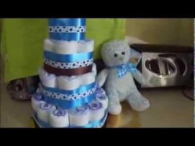 Torta o tarta de pañal para baby shower