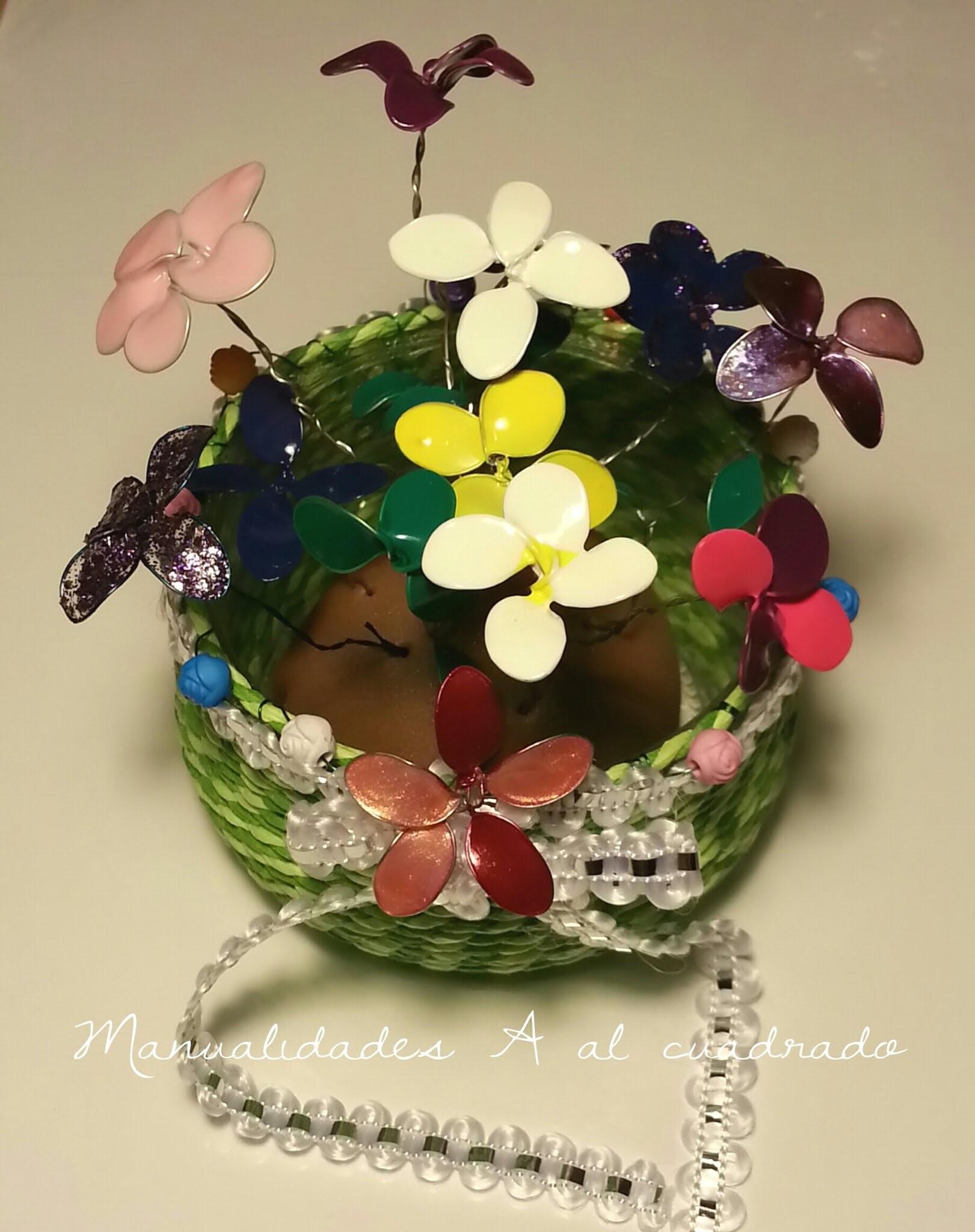 Tutorial: Maceta con flores hechas con alambre y esmalte. Tutorial: Flowers wire and nail polish.