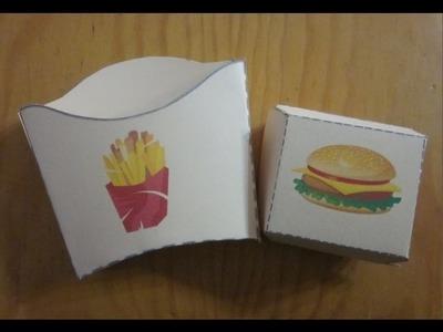 Cajas para patatas fritas y hamburguesas.