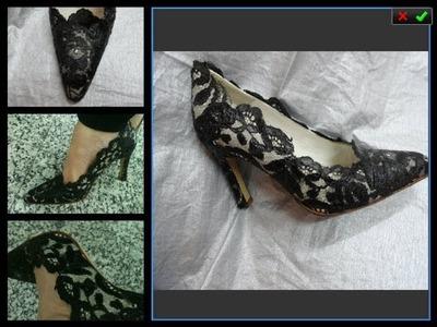 Como forrar zapatos en encaje de blonda
