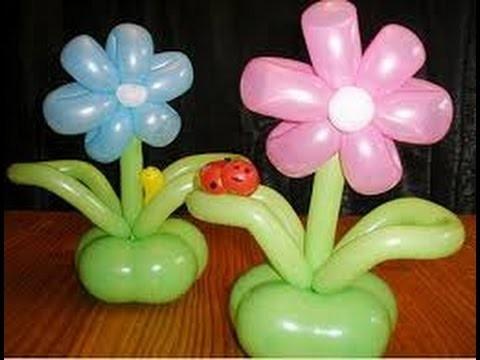 Como hacer flor con globos, manualidades paso a paso (Globoflexia)