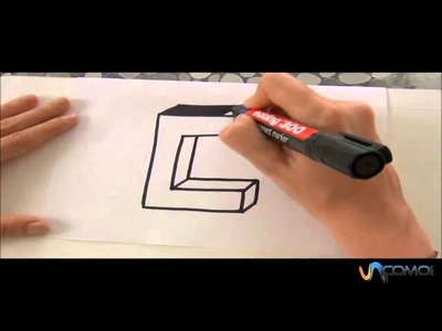 Cómo hacer la letra C en 3D - How to make the letter C in 3D