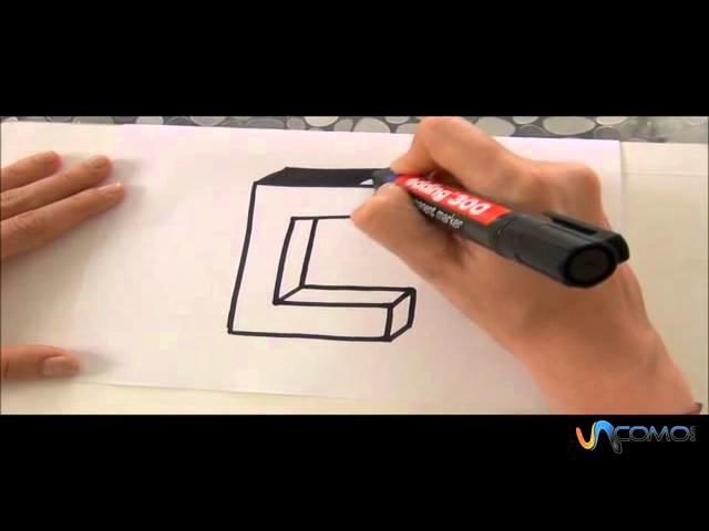 Cómo hacer la letra C en 3D - How to make the letter C in 3D
