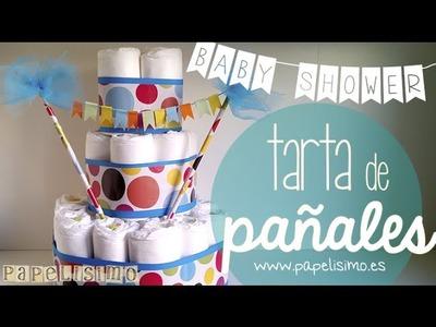 Cómo hacer tarta pañales con guirnalda cumpleaños bebé