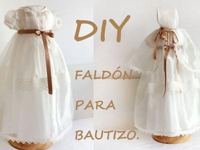 Como hacer un faldón de bautizo para niño y niña. Costura y patrón de bautizo.