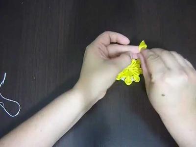 Como hacer una flor japonesa con cinta para el cabello  No.036 Manualidades la hormiga