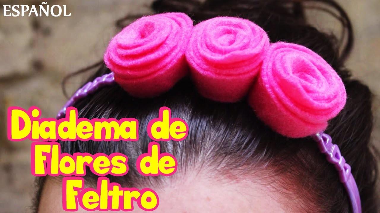 "Diadema de Flores de Feltro | Felt Flower Head Band | Spanish ""How To"" Videos |"