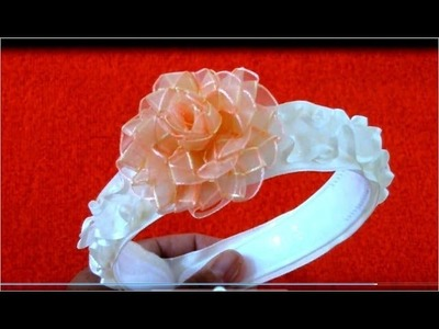 Diademas con rosas trenzadas en cintas de organza para el cabello