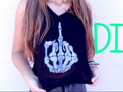 DIY: COMO PINTAR UNA CAMISETA (Skeleton Hand) | Lara García ♡