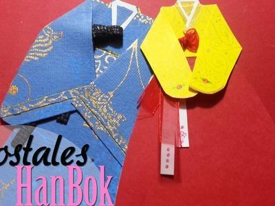 DIY: Postal en forma de Hanbok. Hanbok Postcard