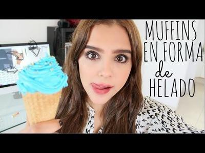 MUFFINS EN FORMA DE HELADO ♥ - Yuya