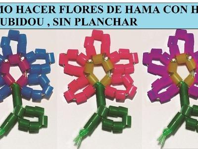 Como hacer flores de perlitas de hama e hilo scoubidou sin planchar.