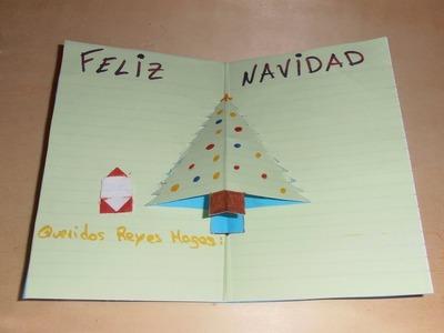 Cómo hacer tarjeta de Navidad con árbol y adornos