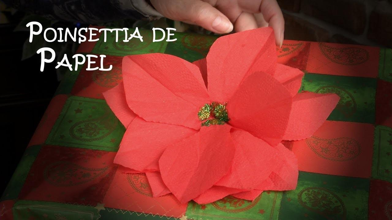 Como Hacer una Poinsettia, Flor de Pascua o de Nochebuena de Papel
