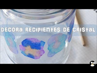 Decora recipientes de cristal con pañuelos de papel o servilletas [Manualidad fácil para niños ☺]
