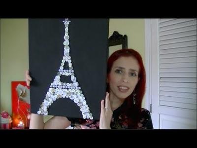 DIY-Cuadro de Torre Eiffel hecha con botones