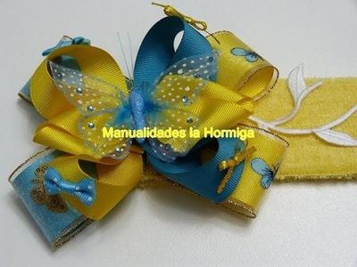 Forma fácil de elaborar un  hermoso moño de colores para el cabello . hair bows ribbons