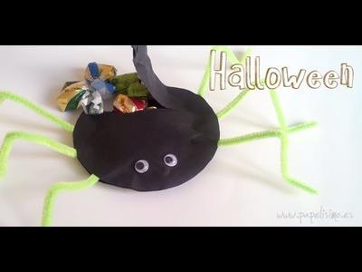 Manualidades fáciles Halloween: Araña 3D rellena de caramelos