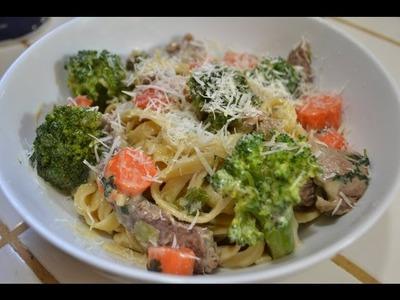 Pasta con carne y vegetales