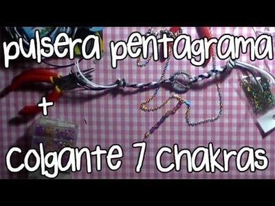 Pulsera wicca pentagrama + colgante 7 chakras ♥ #1.2