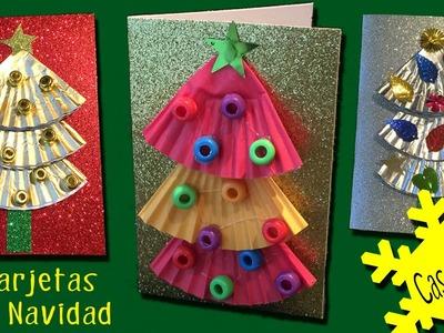 3 Tarjetas navideñas con árbol de navidad fáciles