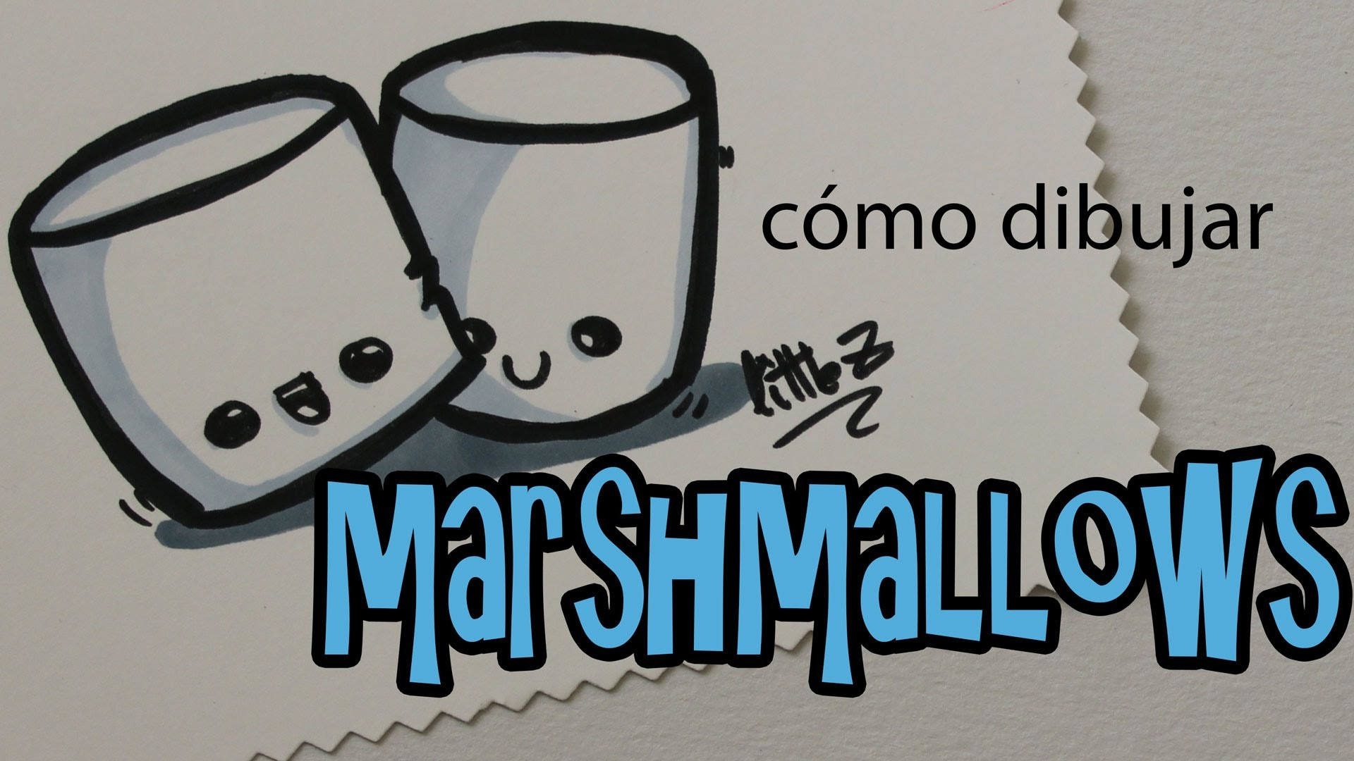 Cómo dibujar nubes o malvaviscos kawaii. How to draw a marshmallows