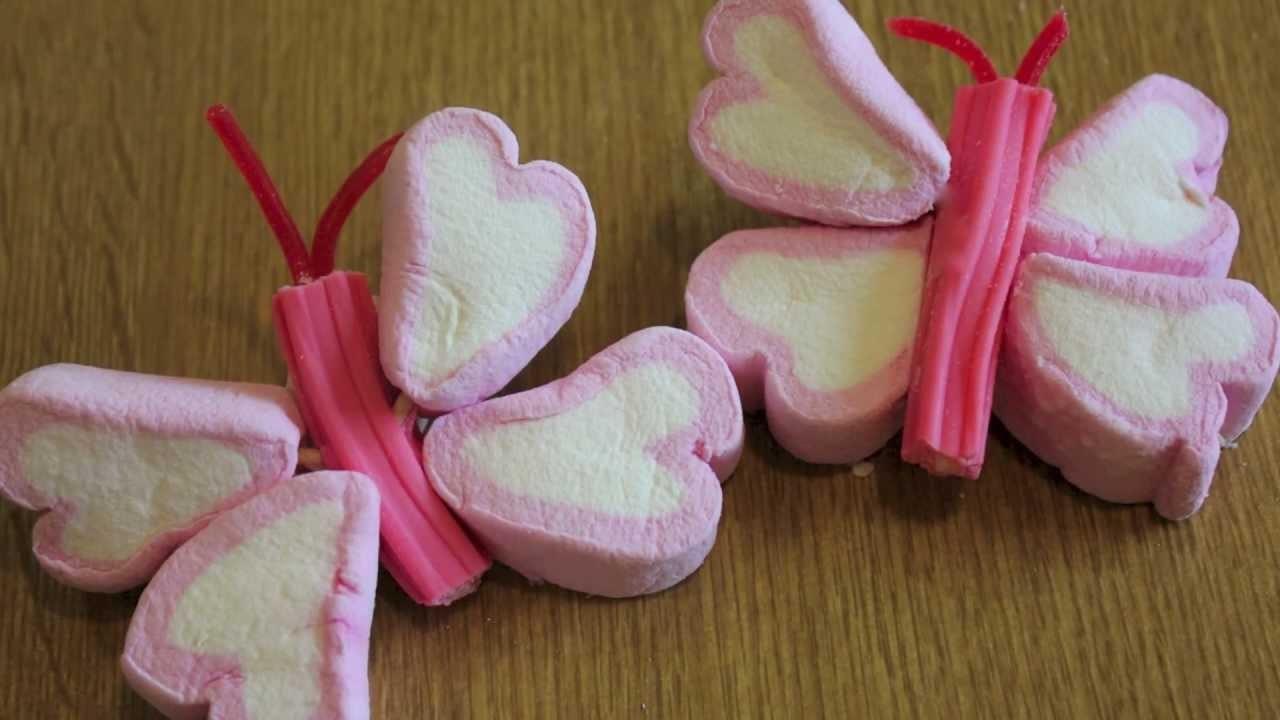 Cómo hacer paletas de mariposas con bombones, nubes, malvaviscos. : ideas de mesa dulce