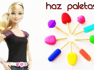 Cómo hacer paletas para tus muñecas FÁCIL - Manualidades para muñecas