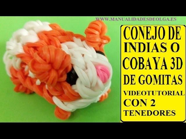 COMO HACER UN CONEJITO DE INDIAS O COBAYA 3D DE GOMITAS CON DOS TENEDORES. figura ligas Hamster