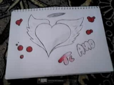 Como hacer un dibujo de un corazon, facil con dos lapiceros (boligrafos).