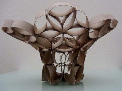 Cómo hacer un Florero Frutero con tubos de rollos de papel higiénico-Vase with toilet paper rolls