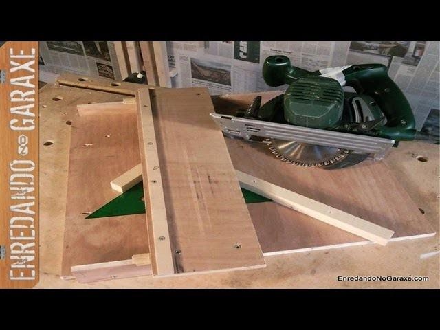 Como hacer un guia para cortar uniones a inglete con la sierra circular. Circular saw miter jig.