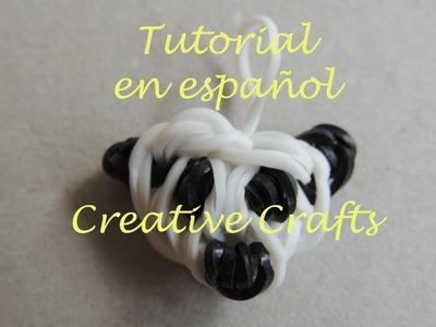 Como hacer una oso panda con gomitas (Cabeza) Rainbow Loom Panda Bear.