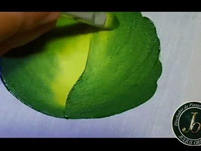 Como pintar hojas en Tela - Folhas-  How to paint leaf -Fabric painting