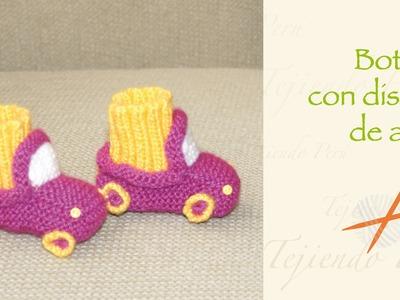 Cómo tejer botitas en forma de auto en palitos o dos agujas para bebés