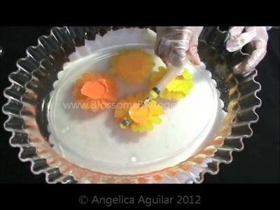 Demo de flores de Cempazuchitl encapsuladas en gelatina
