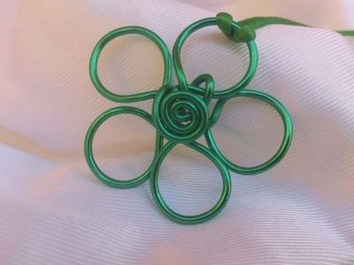 DIY: Como hacer colgante flor de alambre.( verde )