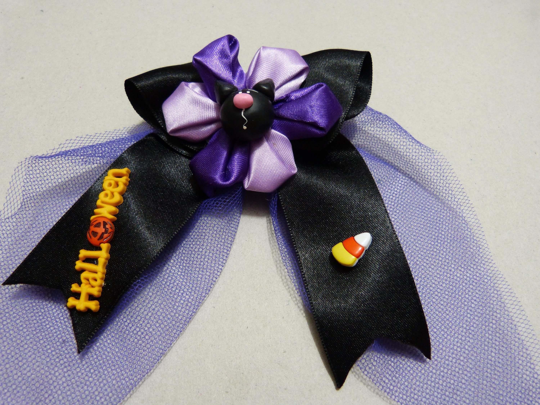 Diy moños halloween en cintas tull y flores paso a paso par el cabello No.156 Manualidadeslahormiga