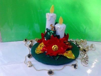 Facil centro de mesa navideño  hecho con fieltro